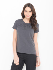 LSJ Freedom Plain Pleated Round Neck Charcoal Shirt