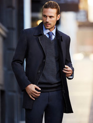 Mens Lined Car Coat- Midnight Navy