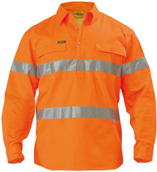 Bisley Hi Vis 3M Reflective Tape Closed Front Mens Drill L/S Shirt