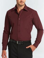 Crease Resistant Mens Burgundy L/S Shirt