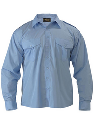 Bisley Mens Long Sleeve Epaulette Shirt