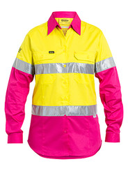 Bisley 3M Taped Ladies Yellow/Pink Cool Hi Vis Light Weight Shirt - Real Men Wear Pink