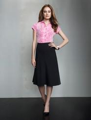 3/4 Length Fluted Wool Blend Skirt