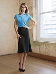 3/4 Length Fluted Cool Stretch Plain Skirt