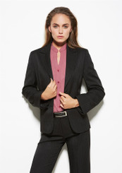 Ladies Short-Mid Length Cool Stretch Pinstripe Jacket