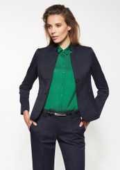 Ladies Short Cool Stretch Pinstripe Jacket with Reverse Lapel