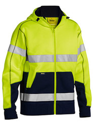 Bisley Taped Yellow/Navy Hi Vis Fleece Hoodie