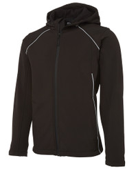 Black/Silver Hooded Soft Shell Jacket