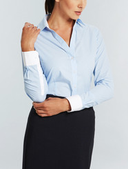 Gloweave Womens Blue Y Front L/S Bold Stripe Shirt