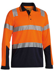 Hi Vis 3M Taped Micromesh Long Sleeve Polo Shirt
