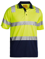 Hi Vis 3M Taped Micromesh Yellow/Navy Short Sleeve Polo Shirt