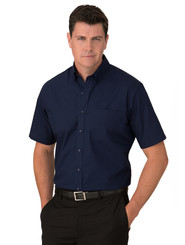 City Collection Mens Navy Microcheck S/S Shirt