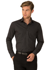 Black City Stretch Retro Stripe Long Sleeve Shirt