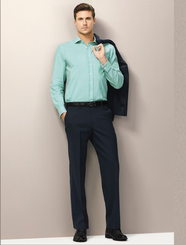 Mens Flat Front Wool Stretch Trouser