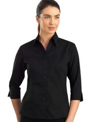 John Kevin Women's 3/4 Sleeve Poplin Shirt