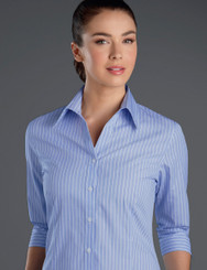 John Kevin Women's 3/4 Sleeve Pinfeather Stripe