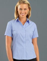John Kevin Women's Short Sleeve Pinfeather Stripe