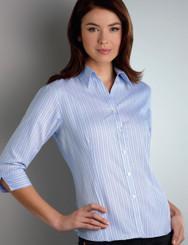 John Kevin Women's 3/4 Sleeve Oxford Stripe