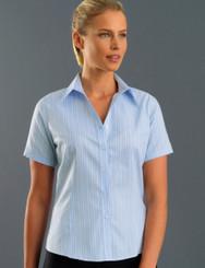 John Kevin Women's Short Sleeve Oxford Stripe