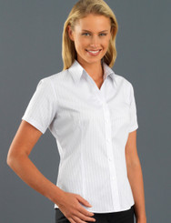 John Kevin Women's Short Sleeve Self Pattern Check