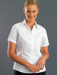 John Kevin Women's Short Sleeve Self Stripe