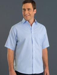 John Kevin Mens Short Sleeve Oxford Stripe Shirt