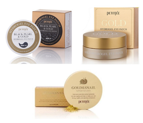 Petitfee Black Pearl + Gold & Snail + Gold Hydrogel Eye Patch SET
