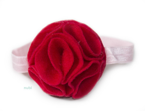 coral red baby headband