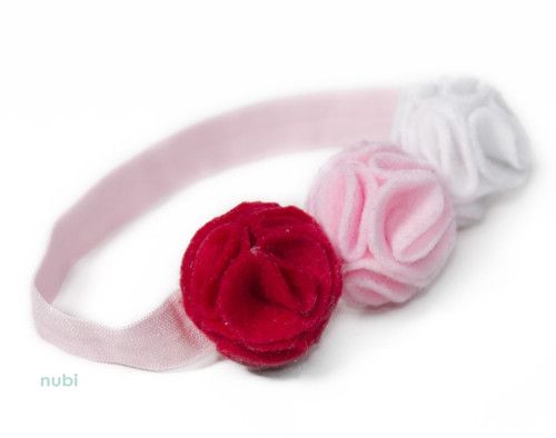 coral pink white flower headband