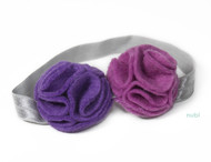 purple two tones flower headband