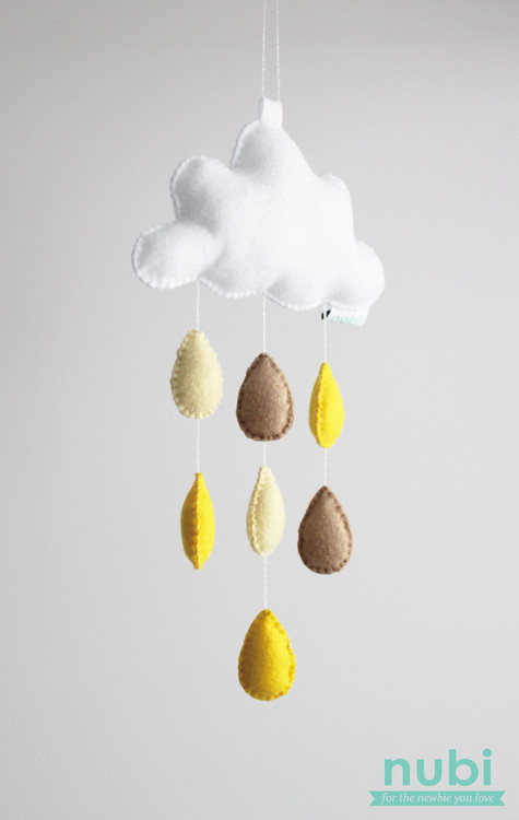 yellow droplets cloud baby mobile