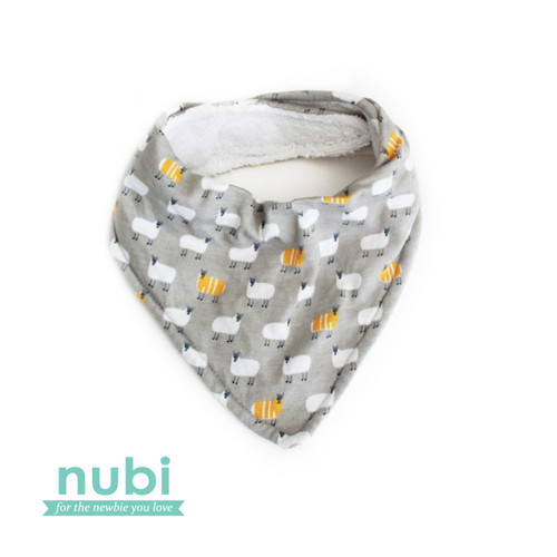 Grey yellow sheep patterned dribble bib