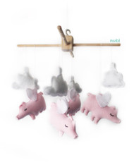 pink flying pig baby mobile