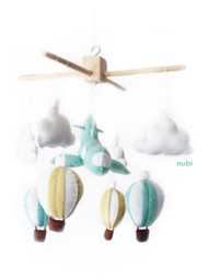 Hot Air Balloons and Plane Baby Mobile Pastel Yellow and Mint