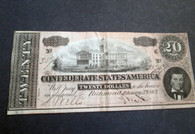 Original Confederate Twenty Dollar Bill, dated 1864