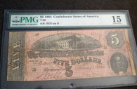 Original Confederate Five Dollar Bill, dated 1864, PMG graded