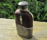 Civil War era maker-marked Whiskey Flask with pewter cup