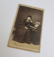 CDV Photograph of girl with pump organ, Ft. Monroe, VA