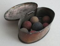 Civil War soldier's Marbles in tin container (SOLD)