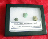 Group of 3 buttons, recovered at Bentonville (one with thread)