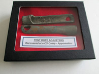 Brass Tent rope adjusters recovererd at Appomattox (SOLD)