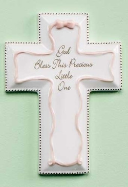 """God Bless This Precious Little One Pink Baptism Wall Cross (6"""")"""