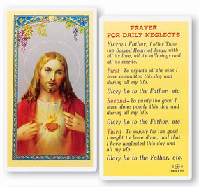 Prayer for Daily Neglects Laminated Holy Card
