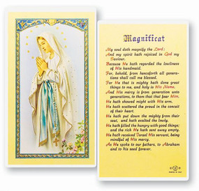 Our Lady of Lourdes Magnificat Laminated Holy Card