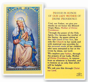 Our Lady Mother of Divine Providence Prayer Laminated Holy Card