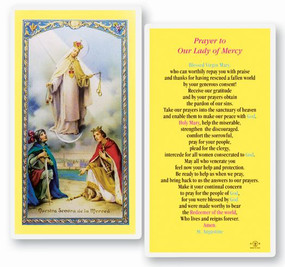 Our Lady of Mercy Prayer Laminated Holy Card