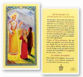 Our Lady of La Salette Memorare Laminated Holy Card