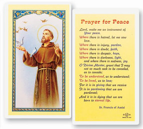 St. Francis of Assisi Prayer for Peace Laminated Holy Card