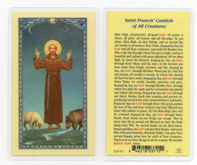 St. Francis of Assisi - Canticle of All Creatures - Laminated Holy Card