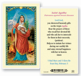 St. Agatha Patroness Against Breast Diseases Laminated Holy Card